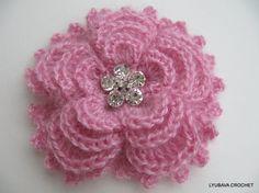Instant Download PDF Crochet Pattern Mohair Brooch Flower 5 Petals 4 Layers, PDF Crochet 3D Flower Brooch, Lyubava Crochet Pattern number 84