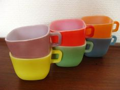 6 Vintage Opale France Soup Square Mugs Bowl by 20thCenturyEurope
