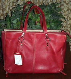 "SOLD! Buxton Very Large Red Leather Bag 16""Wide by 11.5""High and 5""Deep Ships Free Price:US $38.99"