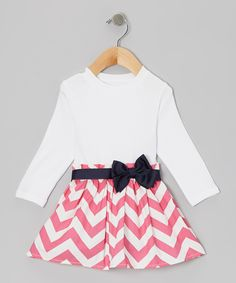 Loving this Caught Ya Lookin' White & Pink Zigzag Bow Dress - Infant & Toddler on #zulily! #zulilyfinds
