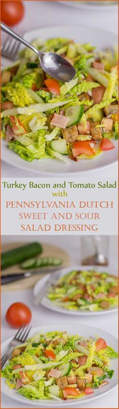 Turkey Bacon and Tomato Salad With Pennsylvania Dutch Sweet and Sour Salad Dressing. A unique tasting salad with a low fat sweet and tangy sour dressing.
