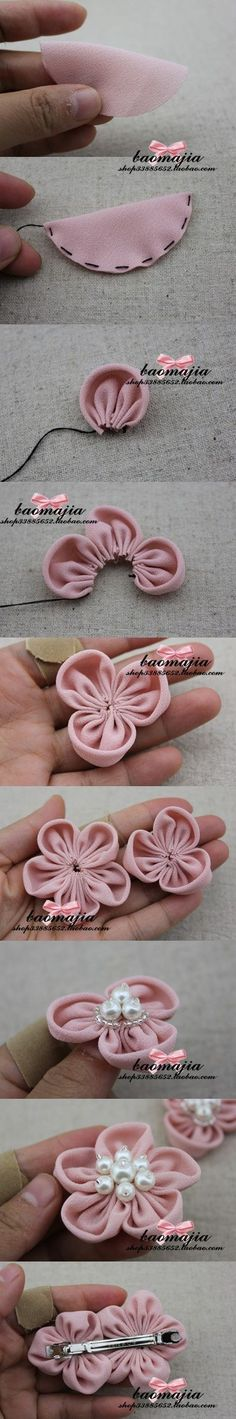 pretty felt flowers: whip up stiches around a folded felt circle... pull... attach pearls :)