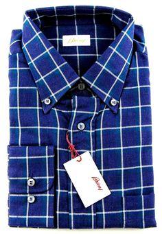 New BRIONI Blue Plaid Cotton Button Down Dress Shirt Sz V 17.5 XL NWT $895      #frieschskys #mensfashion #fashion #mensstyle #style #moda #menswear #dapper #stylish #MadeInItaly #designer #ootd #highfashion #shirts