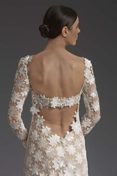 This gown surely makes a statement with an open back kissed by sequined macrame lace. Inspired by a glamorous movie star walking the red carpet at the Cannes Film Festival! Cannes Essence by Victoria KyriaKides Michigan Wedding Venues, Inexpensive Wedding Venues, Bridal Collection, Dress Collection, Bridal Dresses, Wedding Gowns, Greek Fashion, Open Back Wedding Dress, Fun Wedding Invitations