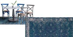 Yolanda, tapis à motif persan délavé 160 x 230 cm, bleu pétrole