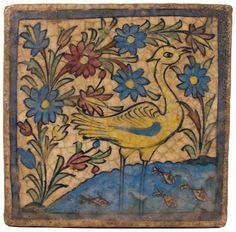 Persian tile with a heavy glaze: a garden setting with a stork in a pond of water. - I have several of these and some bottles from the same period. Islamic Tiles, Islamic Art, Mosaic Tile Art, Persian Motifs, Persian Culture, Antique Tiles, Iranian Art, Handmade Tiles, Decorative Tile