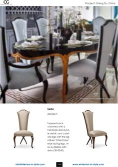 """Sadie Tapered back, crowned with a hand-carved keyhole detail, and cabriole legs with the signature """"Chris-Cross"""" rear facing legs. Also available with arms Christopher Guy, Sadie, Hand Carved, Arms, Chairs, Dining Table, Carving, Interiors, Contemporary"""