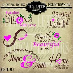 View Families Bloom With Love Ll042 B Cut-File In Svg Dxf Eps Ai Jpg Png DXF