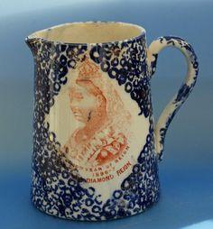Antique Queen Victoria Jubilee  Porcelain Jug Blue Mottled