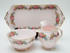 Tuscan Pink Floral Garland Flower Creamer/Milk Jug Sugar Bowl and Tray Vintage Fine Bone China Made in England by TheVintageFind1 on Etsy https://www.etsy.com/au/listing/496345478/tuscan-pink-floral-garland-flower