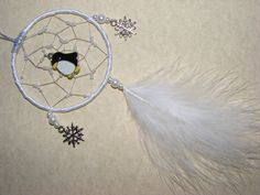 Cute Penguin MINI Dreamcatcher White Snowflake Christmas Present Gift Car Mirror (YB) by FirwelCrafts on Etsy
