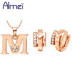 Check current price Almei Letter A B C D E F G H I J K L M N O P Q R S T U V W X Y Z Rose Gold Color Jewelry Sets for Women Crystal Earrings T324 just only $6.53 - 7.20 with free shipping worldwide  #weddingengagementjewelry Plese click on picture to see our special price for you