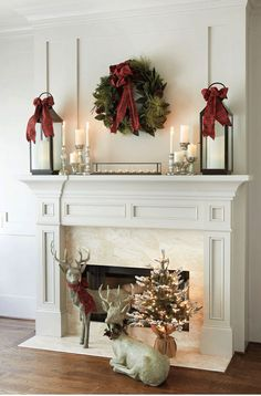 mantle lanterns with red bows