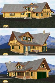 1st Floor Plan – 1530 Sq. Ft. – Covered Entry Porch, Master Bathroom, Master Bedroom, 2 x Covered Decks, Stairs, Entry, Dining Room, Powder Room, Great Room, Laundry / Mudroom, Screened Porch, 2 x Car Garage. 2nd Floor Plan – 693 Sq. Ft. – Deck, Bedroom #2, 2 x Storage Areas, Catwalk, Bedroom #3, 2 x Bathrooms, 2 Walk-in-Closets, Open to below, Bonus Room – 245 Sq. Ft. #loghomes #loghomebuilders #logcabins #loghomedesign #loghomeinteriors #lodges #loghomefloorplans #loghome #loghouse Log Home Builders, Log Home Interiors, Log Home Floor Plans, Log Home Designs, Covered Decks, Timber House, 2nd Floor, Car Garage, Log Homes