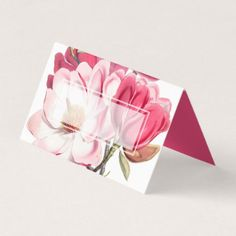 #pretty - #Southern Pink Magnolias Wedding Folded Place Card