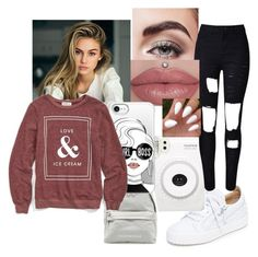 """Love ice cream and white sneakers"" by relaxingcomet ❤ liked on Polyvore featuring Avon, Giuseppe Zanotti, WithChic, Casetify and Wildfox"