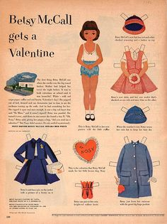 Betsy McCall gets a Valentine* For lots of free paper dolls International Paper Doll Society #ArielleGabriel #ArtrA thanks to Pinterest paper doll collectors for sharing *