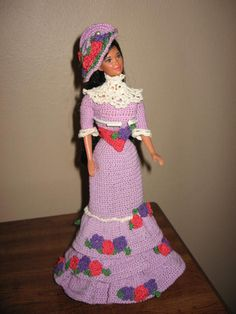 crocheted Barbie Doll Clothes period dress by SusieCsShop on Etsy, $75.00