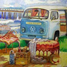 """Knysna - """"Ek het as kind altyd in hierdie bussie saam met my ouers en sussie en boetie Knysna toe gery vir skoolvakansie! African Colors, Knysna, South African Artists, Art Themes, Afrikaans, Inspiring Art, Beetles, Art Forms, Firefighter"""