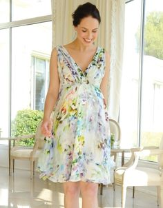 Floral Silk Maternity Cocktail Dress | Seraphine, Silk maternity dresses, baby shower dresses