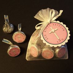 Personalized Hershey Kiss Baptism/Christening Favor Kit, white organza bags, white cross on pink, set of 20. $25.00, via Etsy.