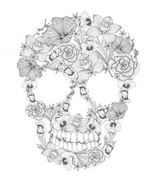 Have fun with this free sugar skull coloring page! #freecoloringpage #sugarskull #coloringpages