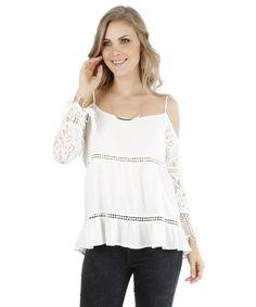 Blusa Open Shoulder com Renda Off White - cea