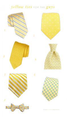 Yellow Ties for the Groom, Groomsmen, Male Wedding Guests