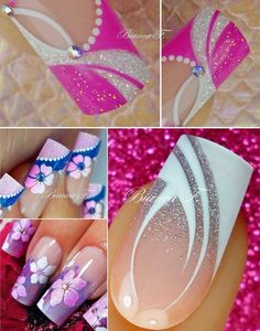 Bio Sculpture Gel French manicure: – Strawberry French (base colour) – Snow White with iridescent glitter feature nail Funky Nails, Cute Nails, Pretty Nails, Les Nails, Manicure Colors, Nagel Gel, Beautiful Nail Designs, Flower Nails, Nail Tutorials