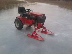 Ice fisherman's ingenuity at work. Adapted a garden tractor into an ice machine. I wish I had thought of this.