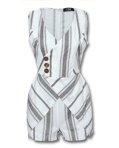 Elegant Casual Skinny Playsuit Workwear V-Neck Short Jumpsuit Sleeveless Striped Buttoned Design Romper Trend Fashion, Fashion Outfits, Skinny Shorts, Short Jumpsuit, Pret A Porter Feminin, Jumpsuits For Women, Pulls, Pattern Fashion, Playsuit