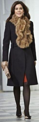 2012 Crown Princess Mary of Denmark. Love the fur.