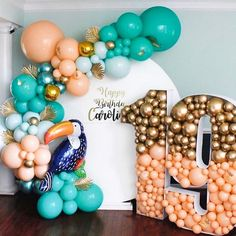Summer has officially started and we are here for it! 🙌 Photo and balloon design by 📸 . Shop wholesale at… Birthday Balloon Decorations, Birthday Balloons, Birthday Party Themes, Balloon Backdrop, Balloon Garland, Balloon Wall, Confetti Balloons, Balloon Bouquet, Deco Ballon