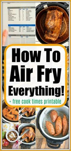 How to Air Fry Everything + Free Air Fryer Cook Time Printable! : air fryer recipes snacks How to air fry everything you want in your new hot air crisping machine! Use our free air fryer cook time printable & our tips for perfection. Air Frier Recipes, Air Fryer Oven Recipes, Air Fryer Dinner Recipes, Recipes For Airfryer, Juicer Recipes, Blender Recipes, Air Fryer Cooking Times, Cooks Air Fryer, Air Fry Everything