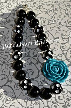 Chunky BubbleGum bead necklace Black/White by BubbleGumPrincesses, $16.00