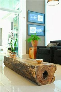 yet Modern, Beautiful Furniture with Wood Leftovers from Brazil (Photos) Log Coffee Table - another great log table!Log Coffee Table - another great log table! Log Furniture, Furniture Design, Tree Stump Furniture, Natural Wood Furniture, Business Furniture, Luxury Furniture, Furniture Makers, Eclectic Furniture, Reclaimed Furniture
