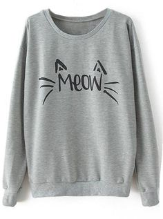 """""""Meow"""" sweatshirt to get with free shipping&easy return! You gonna have this cat lover's piece! So cute&chic at Cupshe.com"""