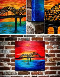 Acrylic painting of the Memphis Bridge. Texture added using a gel medium to thicken up acrylic paint.