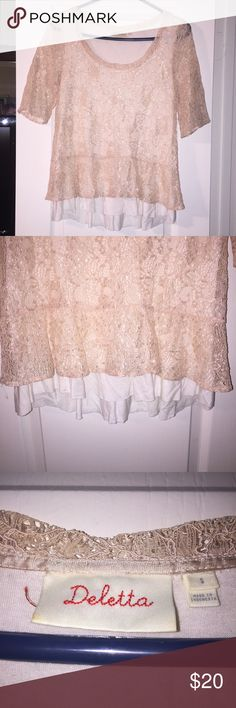 Anthropologie Deletta Lace Top Sz Small Absolutely gorgeous Lace top. Peplum bottom. Anthropologie Tops