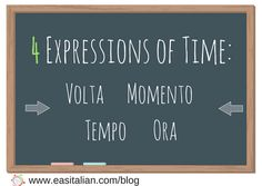 Do you have problems translating the word 'time' into Italian? This postwill look in detail at the options for the word'time' and at various tricky time expressions.  1. VOLTA (occasion)  una volta, due volte, tre volte once, … Continued