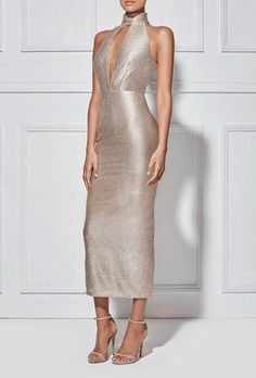 Splurge: Jennifer Lopez's Watch What Happens Live Misha Collection Metallic Gold Volante Halter Keyhole Dress