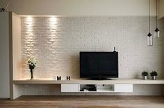 Brick Wall Panel Brick Wall Tv, Brick Feature Wall, Brick Wall Paneling, Faux Brick Walls, Wall Partition Design, Wall Panel Design, Tv Wall Design, Brick Design, Tv Wall Panel