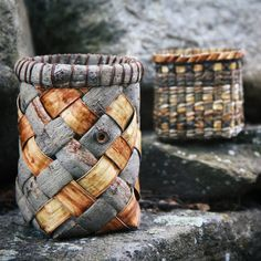 Back from Canada with all my willow bark and two of my first bark baskets. #willowweaving #willowbark #willowbasketry