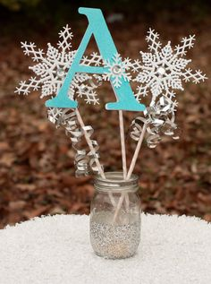 Frozen Birthday Party Winter Onederland Initial Centerpiece Snowflake Wands Table Decoration