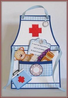 NURSE APRON GET WELL THANK YOU BIRTHDAY Tent Card Mini Kit on Craftsuprint designed by Janet Briggs - made by Rae Trees - I printed the design on good quality matte photo paper 200gsm. I followed the very easy instructions for cutting, scoring and folding. I used glue paste to adhere the sections and filled the pocket with elements provided in the kit. Great design and very easy to assemble. - Now available for download!