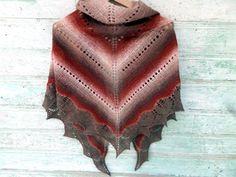 Triangular shawl, wool shawl, hand knit scarf, brown shawl,lace shawl, bridal knit,shawl handmade,brown shrug great warm shawl free shipping by LidiaAndVary on Etsy