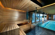 Prestige Saunas offer unique design features for your sauna or steam room. Spa Design, House Design, Home Spa Room, Spa Rooms, Sauna Steam Room, Sauna Room, Indoor Swimming Pools, Swimming Pool Designs, Indoor Pools In Houses