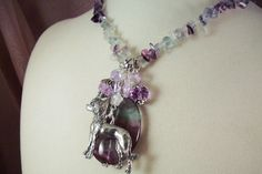 CHINESE Crested - sp14 - Charm Necklace- Fluorite - USA Art - Free Shipping - Handmade by USA Artisan - Last One by HOBBYHORSELADY on Etsy