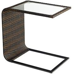 "Outdoor side table goes under seats...  16""W x 24""D x 24""H"
