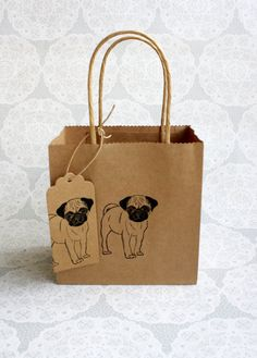 Pug gift bag set  Small kraft bag with matching pug by ThePrintBee